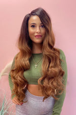 "Lulu 26"" Brown Ombre Wavy Lace Front Wig - Pretty Doll Palace"