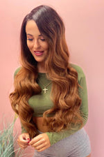 "Lulu 26"" Brown Ombre Wavy Lace Front Wig - prettydollpalace"