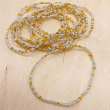 Load image into Gallery viewer, White/Gold 12-Strand Beaded Stacker