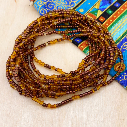 Caramel/Gold 12-Strand Beaded Stacker