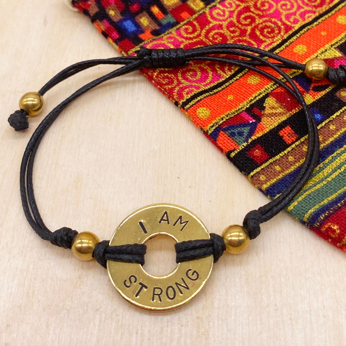 I AM STRONG - Beaded Brass Ring Bracelet