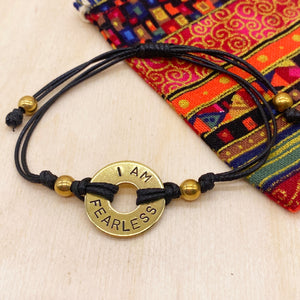 I AM FEARLESS - Beaded Brass Ring Bracelet