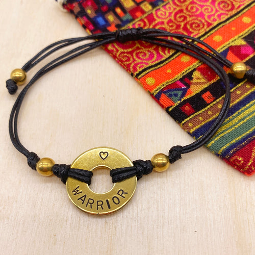 WARRIOR - Beaded Brass Ring Bracelet
