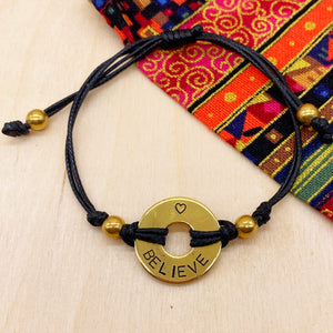 BELIEVE - Beaded Brass Ring Bracelet