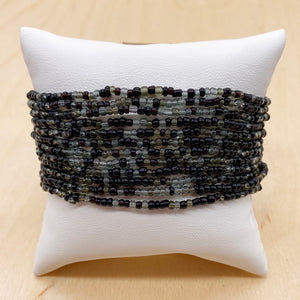 Black/Gray 12-Strand Beaded Stacker