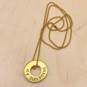 MY SUNSHINE  - Ball Chain Brass Ring Necklace