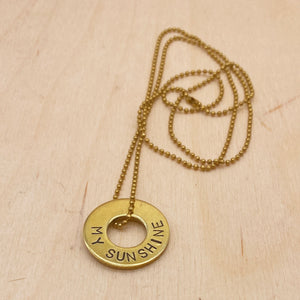 Custom Dainty Brass Ring Necklace