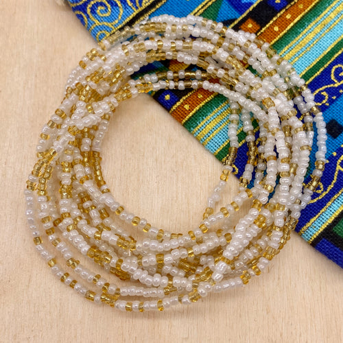 White/Gold 12-Strand Beaded Stacker