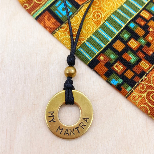 Custom Beaded Brass Ring Necklace