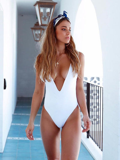 ZISION Sexy Solid One Piece Women White Swimwear Swimsuit