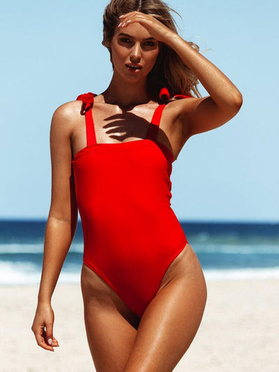 ZISION Sexy Solid One Piece Women Square Straps Swimwear Red Swimsuit