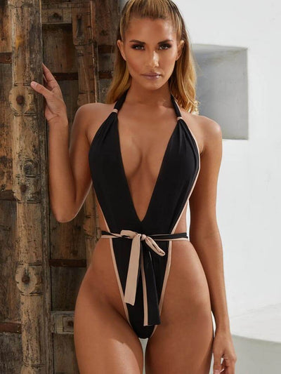 ZISION Sexy Solid One Piece Women Knot Straps Swimwear Halter Swimsuit