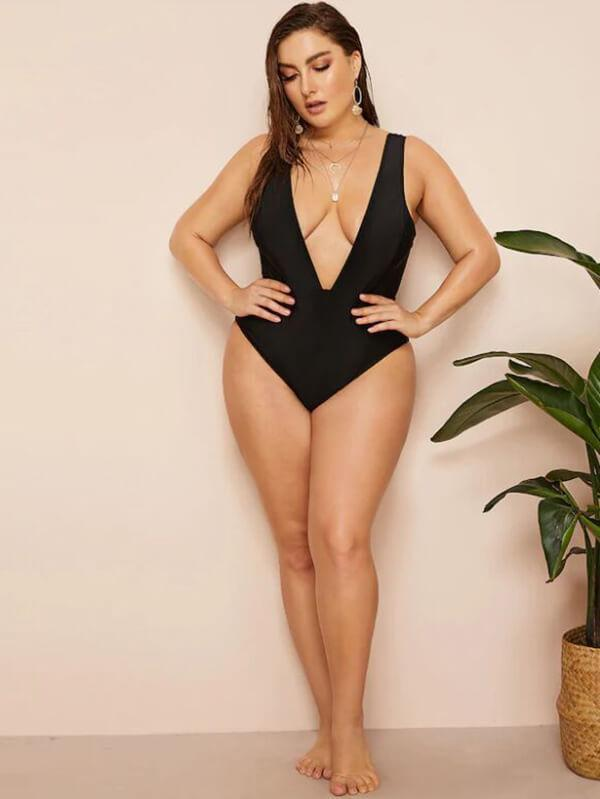 ZISON Sexy Solid One Piece Women Square Straps Swimwear Black Swimsuit