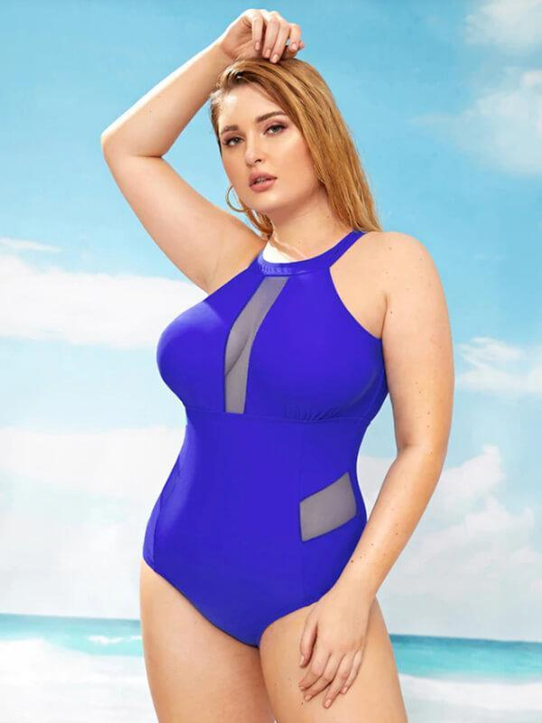 ZISION Sexy Solid One Piece Women Open Back Swimwear Neon Blue Swimsuit