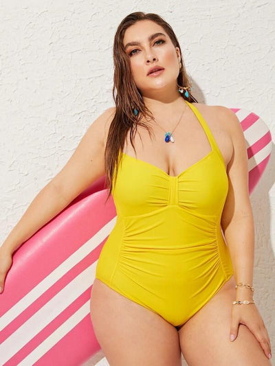 ZISION Sexy Solid One Piece Women Halter Swimwear Swimsuit