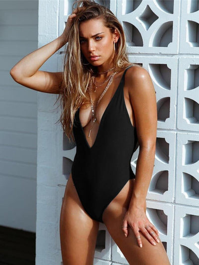 ZISION Sexy Solid One Piece Women Black Swimwear Swimsuit