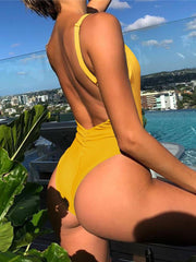 ZISION Sexy Solid One Piece Women Yellow Swimwear Swimsuit