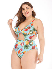 ZISION Sexy Print One Piece Women Spaghetti Straps Swimwear Floral Swimsuit