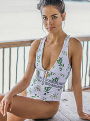 ZISION Sexy Green Leaf One Piece Women Square Straps Swimwear Swimsuit