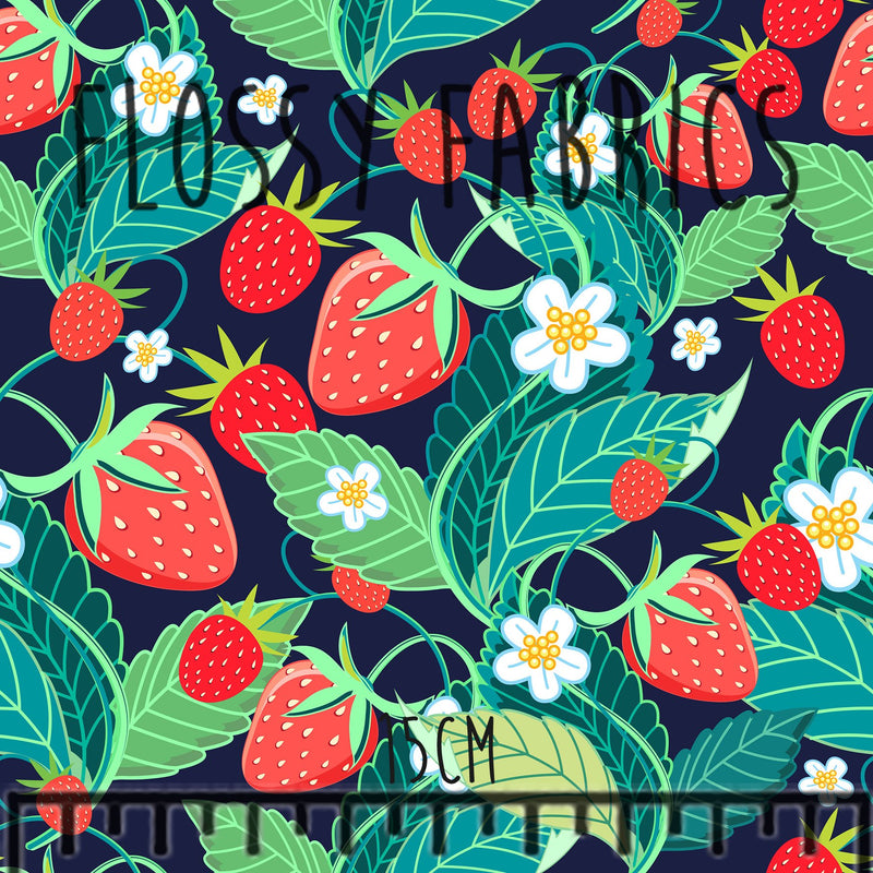 Berry Blossoms Cotton Canvas-Flossy Fabrics