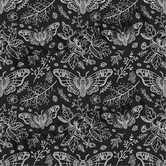 Black and White Moths - faux leather half metre-Flossy Fabrics