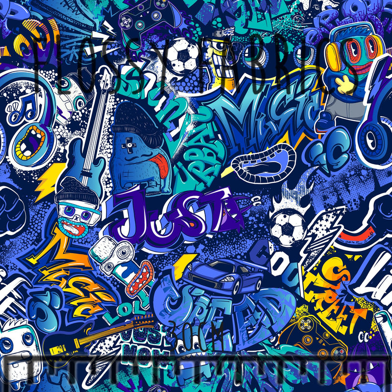 Blue Graffiti Cotton Lycra 220gsm-Flossy Fabrics