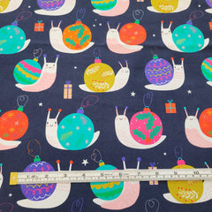 Christmas Snails Navy 2m cut - Cotton Lycra-Flossy Fabrics