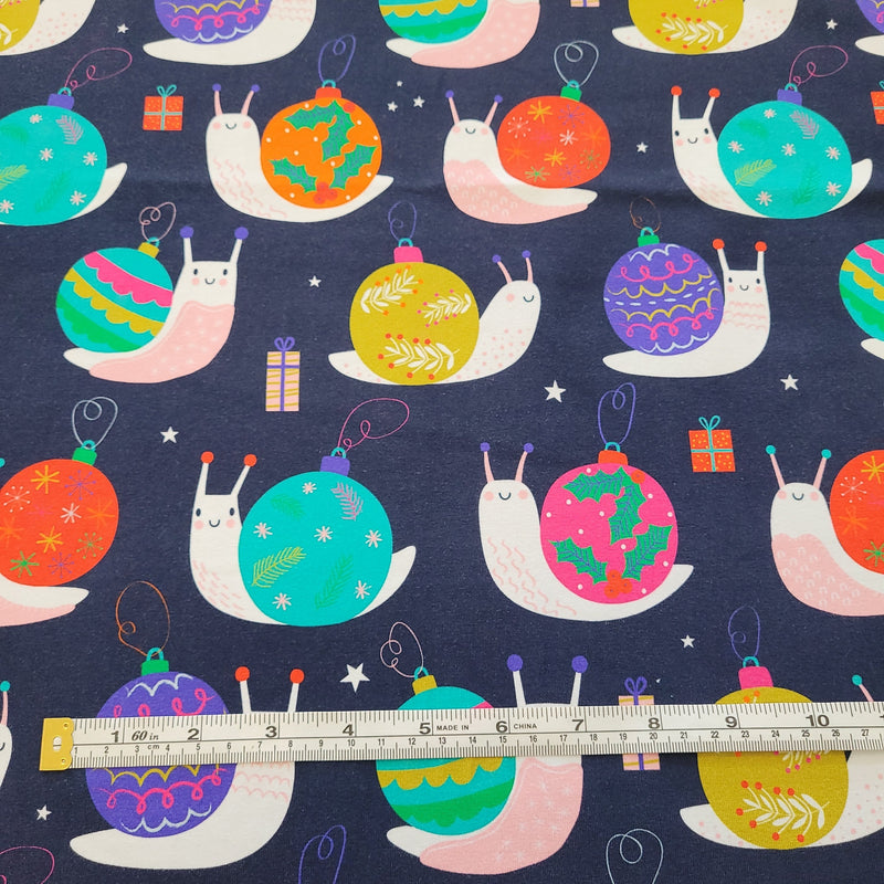 Christmas Snails Navy - Cotton Lycra-Flossy Fabrics