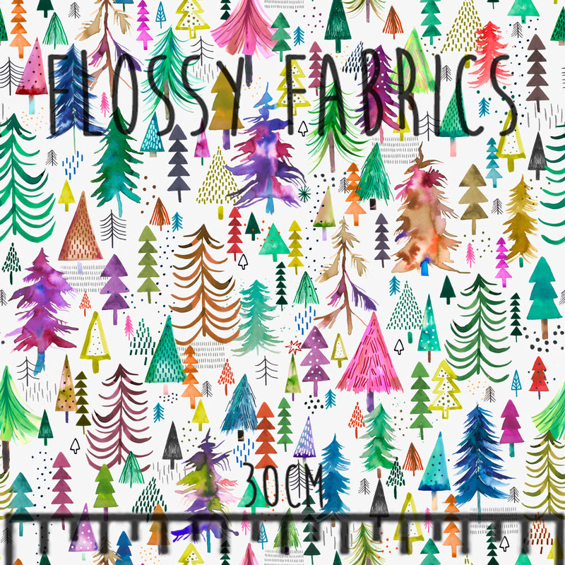 Colourful Pines Light by Ninola Designs-Flossy Fabrics