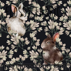 Daisy Bunnies Cotton Canvas-Flossy Fabrics
