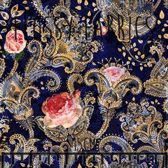 Dark Paisley Floral - faux leather half metre-Flossy Fabrics