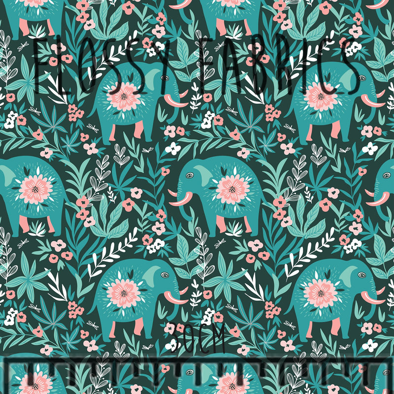 Elephants Cotton Lycra 220gsm-Flossy Fabrics