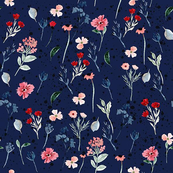 Fox Flowers Navy French Terry-Flossy Fabrics