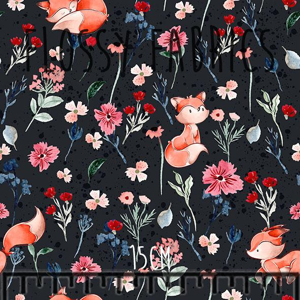 Foxes on black - faux leather A4-Flossy Fabrics