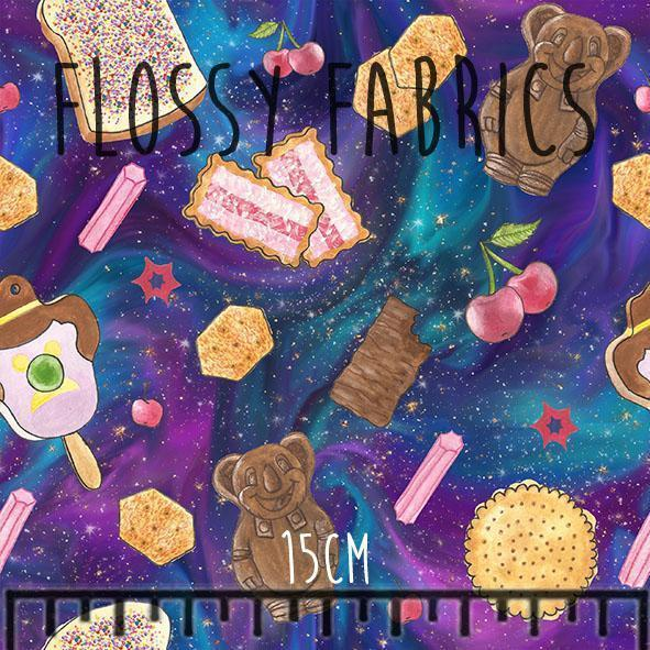 Galactic Snacks - cotton lycra-Flossy Fabrics