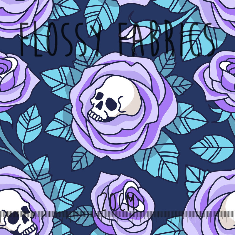 Gothic Skulls Blue - faux leather A4-Flossy Fabrics