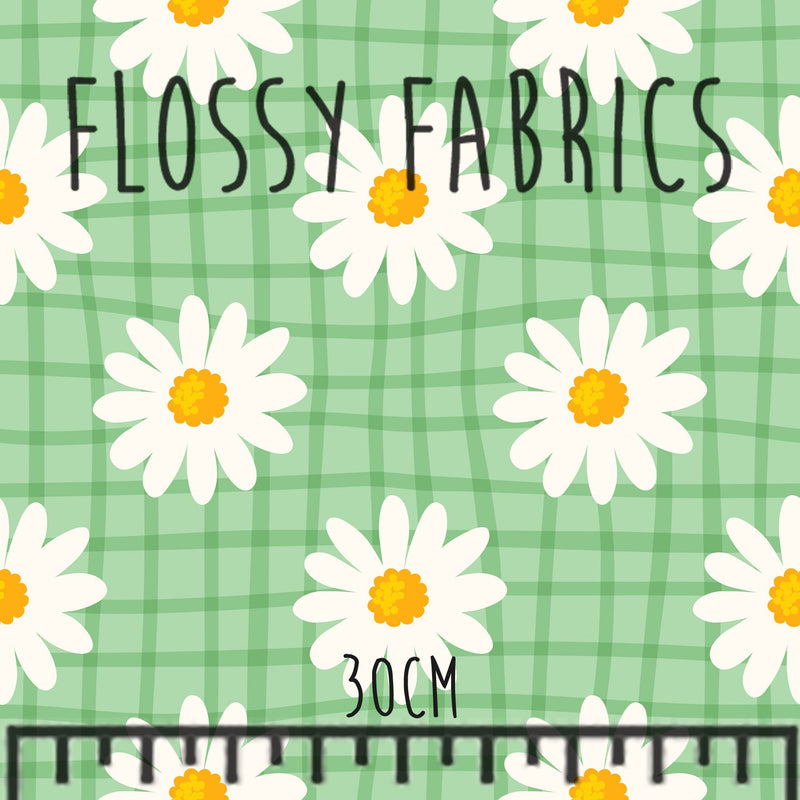 Green Daisies Cotton Canvas-Flossy Fabrics