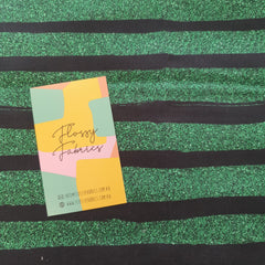 Green Glitter Stripes - cotton sateen-Flossy Fabrics