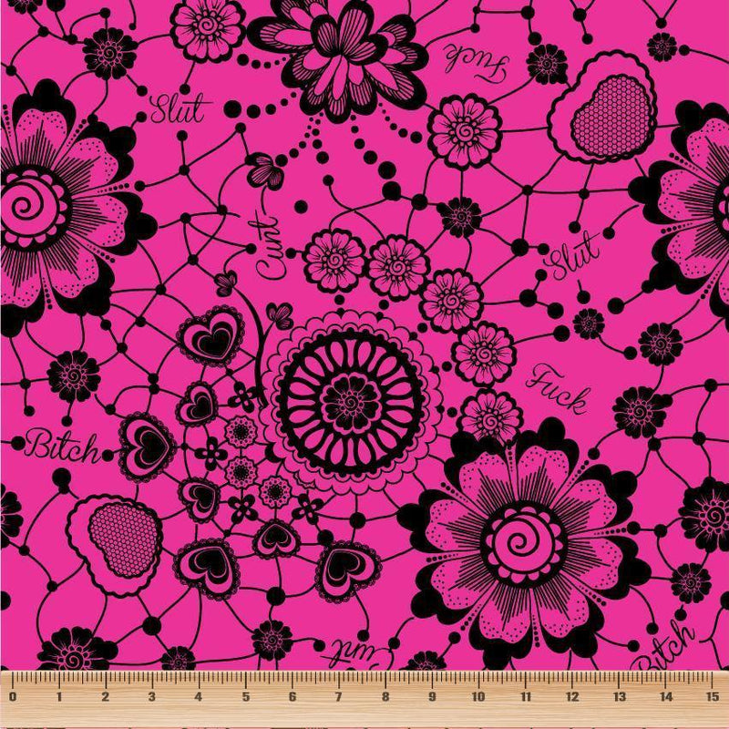 Lace Swears Hot Pink-Flossy Fabrics