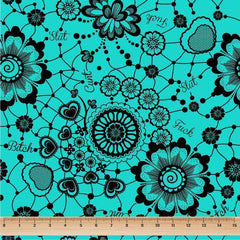 Lace Swears Tiffany Blue - faux leather half metre-Flossy Fabrics