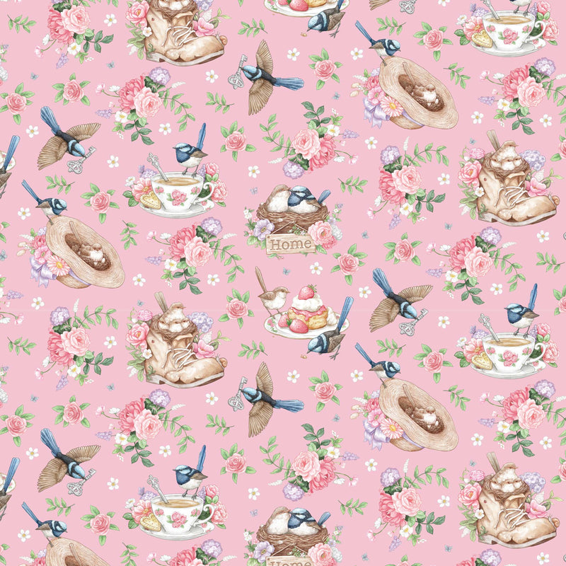 Little Wren Cottage Wren (Pink)-Flossy Fabrics
