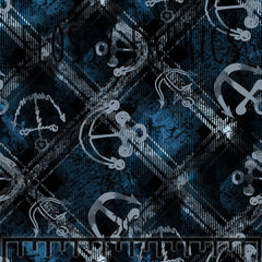 Marine Tartan Cotton Canvas-Flossy Fabrics