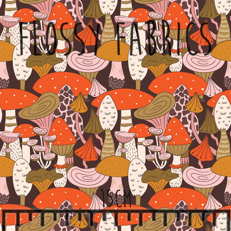Mushrooms Cotton Lycra 220gsm-Flossy Fabrics