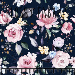 Navy Floral Bamboo Lycra-Flossy Fabrics