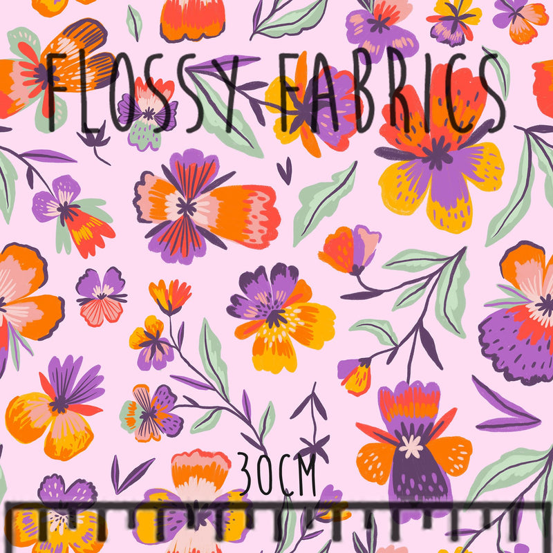 Pansies on Pink PUL-Flossy Fabrics
