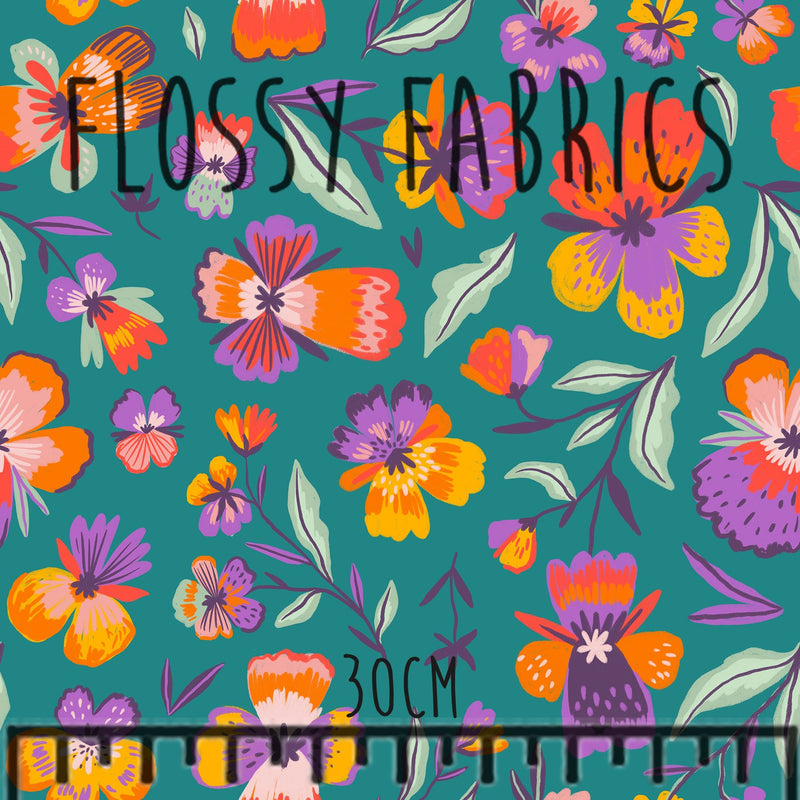 Pansies on Teal PUL-Flossy Fabrics