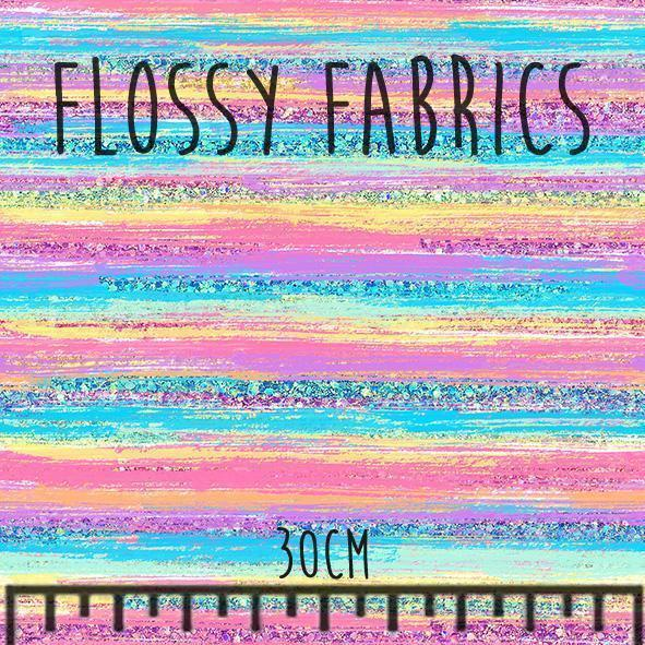 Rainbow Brush Stripes- faux leather half metre-Flossy Fabrics