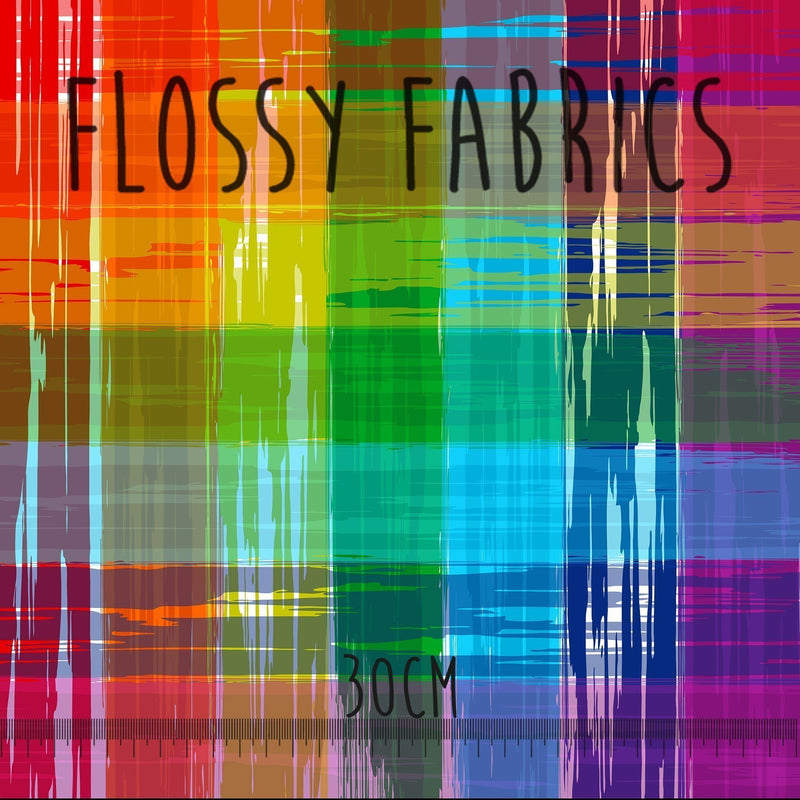 Rainbow Gingham - faux leather A4-Flossy Fabrics