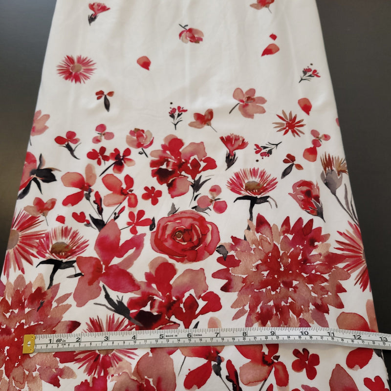 Red Floral Border - Cotton Woven-Flossy Fabrics