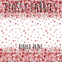 Red Floral Border Print by Ninola Designs-Flossy Fabrics